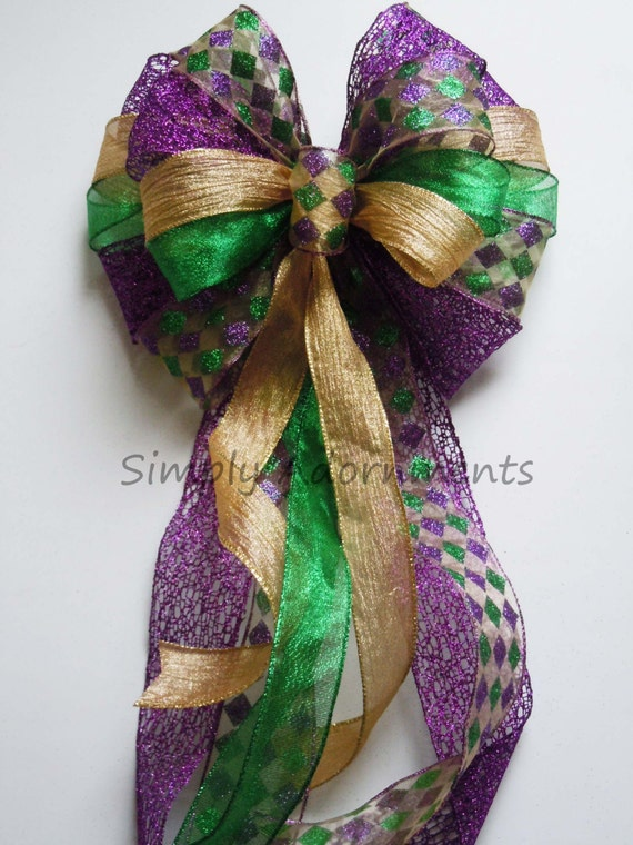 Mardi Gras Christmas Bow Mardi Gras Wreath Bow Purple Gold Green Harlequin Bow Mardi Gras Christmas Tree Topper Bow Large Gift Bow