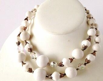 vintage 1960s double strand white choker, vintage 1960s double strand necklace, 60's necklace, wedding choker, bridal choker, 1960s, 60s
