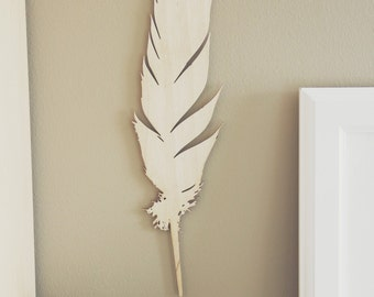 Large 14in Laser Cut Wood Feather | Wood Art / Sign