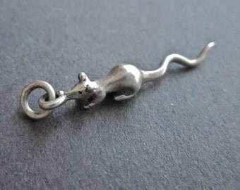 Mouse Rat Charm Sterling Silver