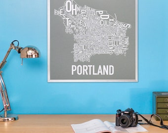 Portland Typographic Neighborhood Map