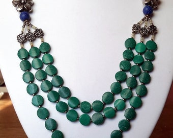 Vintage Green Necklace, Green Beaded Necklace, Green Beaded Jewelry, Statement Tagua Beads, Three strand Necklace