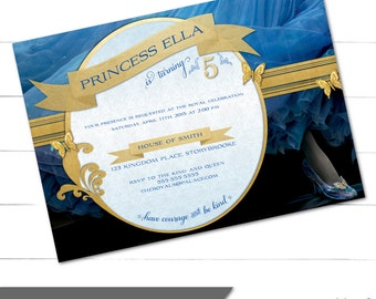 Cinderella Birthday Invitation, Princess Birthday, Cinderella 2015 Movie, Cinderella Party, Royal, Princess Invitation (Digital or Print)