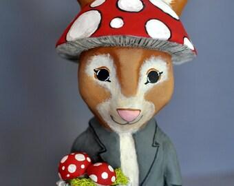 Woodland Rabbit with Mushrooms