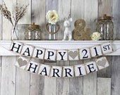 21st birthday banner, happy birthday banner, personalized birthday banner