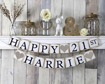 21st birthday banner, happy birthday banner, personalized birthday banner