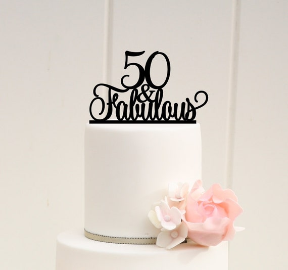 Fabulous 50 Cake Topper: Original 50 And Fabulous 50th Birthday Cake By ThePinkOwlGifts