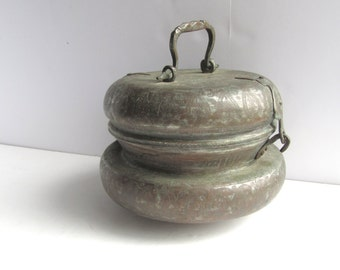 Antique Persian Tinned Copper Pot Box Vessel With Handle Boho Style