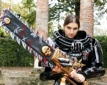 MADE TO ORDER - larp chain sword chainsword chainsaw gold black steampunk warhammer chaos weapon geek blood skull wh40k sci fi cosplay