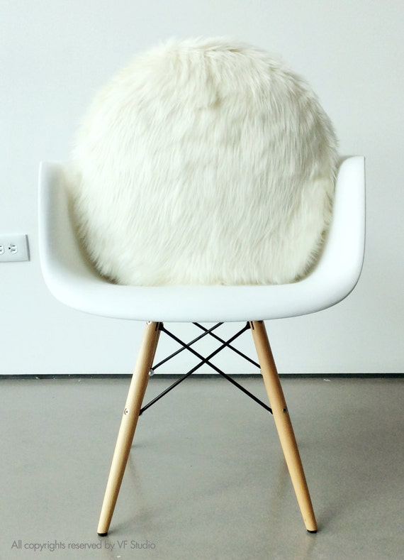 Round Fur pillow 18 inches decorative white fur white suede