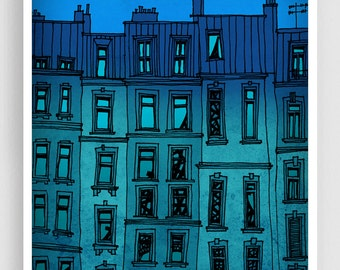 Paris facade  - Paris illustration Fine art illustration Art Poster Paris art Paris decor Travel poster Wall art Cityscape Turquoise Blue