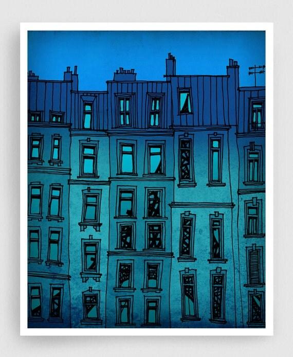 Paris facade  - Paris illustration Fine art illustration Art Poster Paris art Paris decor Travel poster Wall art Cityscape Turquoise Blue