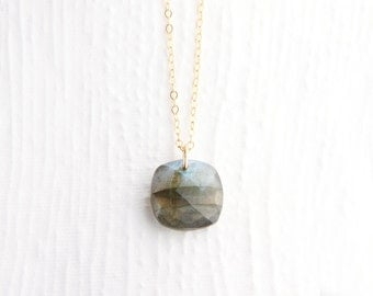 Faceted Labradorite Cushion Necklace in 14k Gold Filled