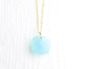 Blue Chalcedony Necklace in 14k Gold Filled