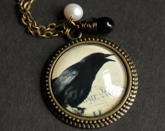 Crow Necklace. Raven Pendant. Black Bird Necklace with Black Teardrop and Fresh Water Pearl. Black Necklace. Bronze Handmade Necklace.