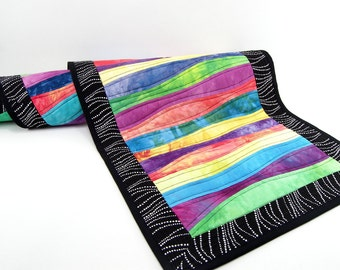 Quilted Table Runner, Colorful Table Topper, or Quilted Wall Hanging - Modern Curved Pieced Quilt with Black 16 x 46 inch Runner