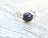 Blue Goldstone wire wrapped ring, Blue Goldstone ring, Sterling Silver gemstone ring