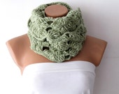 Knitted Lime Green  infinity Scarf Block Infinity Scarf. Loop Scarf, Circle Scarf, Neck Warmer. lime green Crochet Infinity