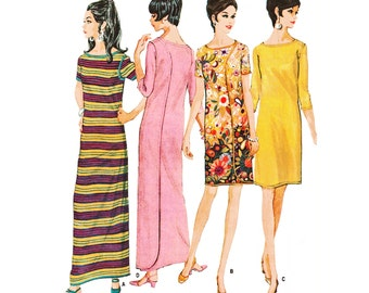 """Unique 1968 Vintage 2-Way Wrap-Around Shift Dress, 3/4 or Short Sleeves, Maxi or Knee Length, McCall's 9181, Sz M 12-14, Bust 34""""-36"""""""