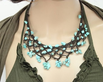Necklace Handmade Turquoise Ivy Stone in Thailand FAIR Trade Wax Cotton String (N004-T)