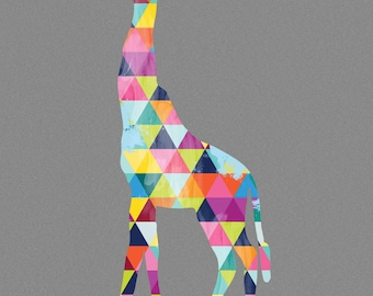 Giraffe Print Poster Africa Animal Design Geometric Bright Colorful Colourful Grey Gray Wall Art Home Decor Gift Present Birthday African