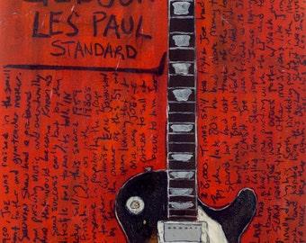 Joe Perry 1959 Gibson Les Paul 11x17 electric guitar art print. Aerosmith. Guitar Art. Guitar Poster