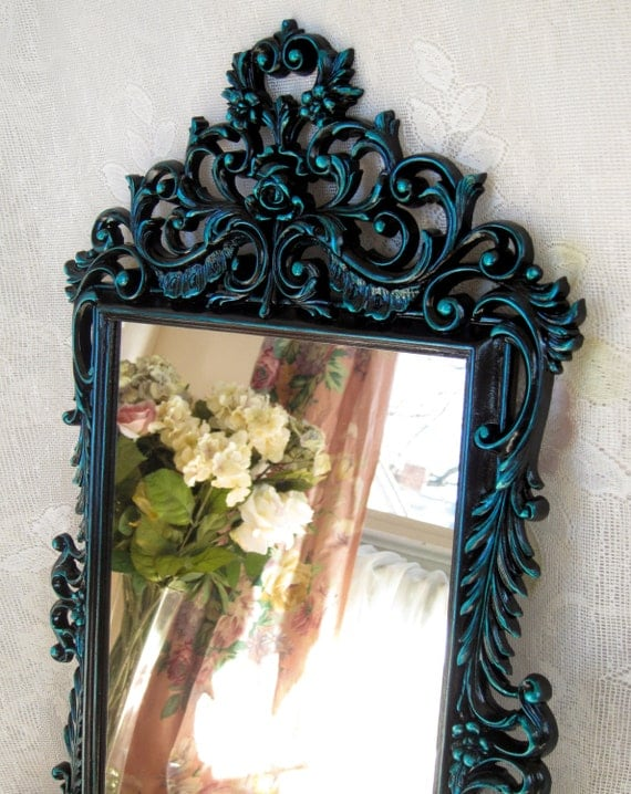 Black and teal lacquer wall mirror large vintage wall mirror for Teal framed mirror