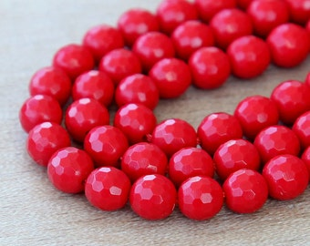 Faux Turquoise Faceted Beads, Red, 8mm Round - 15 inch Strand - eGF-IT03-8