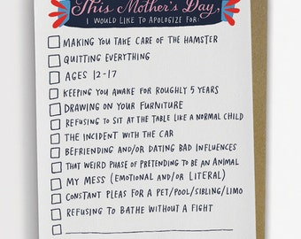 Checklist Mother's Day Card, Funny Mother's Day Card, Mother's Day Card Funny / No. 239-C