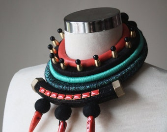 CORALIZER - African Inspired Necklace Tribal Necklace Natural Coral Leather Jewelry Fashion Statement Choker  Coral Turquoise Black Gold