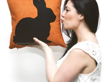 Personalized rabbit cushion cover, tangerine and black, animal pillow, bunny pillow, sofa pillow, conjin conejo, pet portrait, cushions