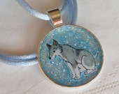 cute wolf puppy pendant - dog charm - animal jewelry - glitter necklace