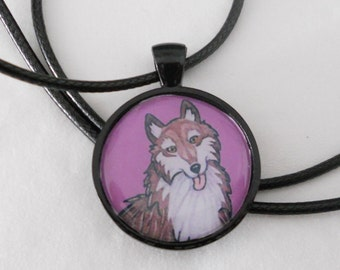 wolf  pendant - dog charm - animal jewelry - necklace