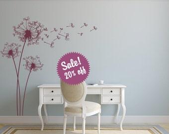 Sale. Dandelion Wall Decal. Wall Sticker.