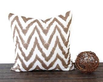 "Brown IKAT chevron pillow cover One 18"" x 18"" cushion cover brown chevron ikat throw pillows Diva"
