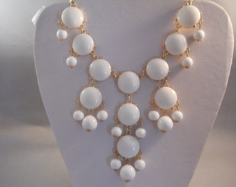 Bib Necklace with White Bubble Beads on a Gold Tone Chain