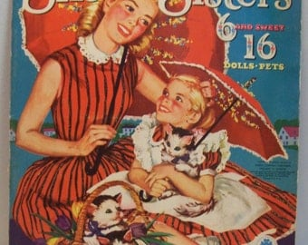 Vintage Big and Little Six Sisters 6 and sweet 16 paper dolls Merrill 2582