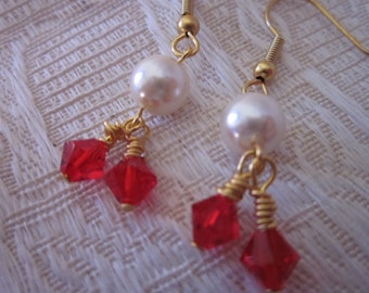 Gold Wire -Wrapped White Glass Pearl and Deep Red Swarovski Crystal BeadsDangle Earrings
