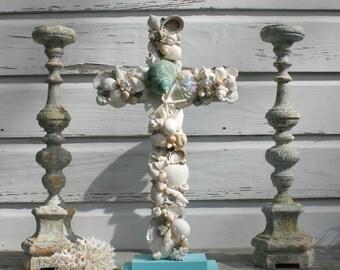 Wedding Altar Cross/Seashell Cross/Beach Wedding Cross/Reclaimed Wooden Cross/Aqua Wedding