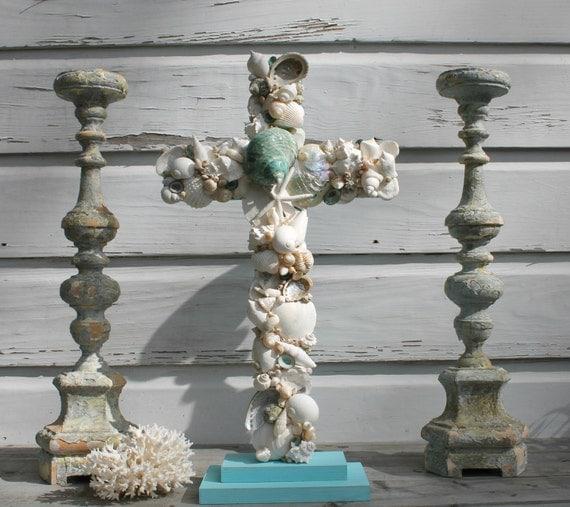 Beach Wedding Altar: Wedding Altar Cross/Seashell Cross/Beach Wedding By