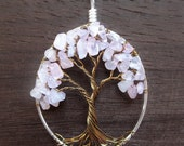 """Rose Quartz Tree of Life Necklace """"Love In Bloom"""" Pink Cherry, Pastel Pink, Love, Gift for Her"""