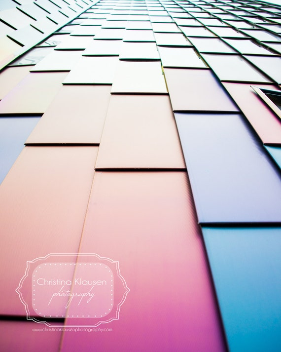 Geometric Architectural Photography. Geometric. Rectangles. Straight Lines. Photo. Multi Colored.  Red. Orange. Blue. Purple. Building Art.