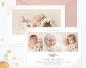Birth Announcement Template, Birth Announcement Girl, Photography Templates, Birth Announcement Card for Photoshop - BA173