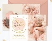 SALE Birth Announcement Template, Birth Announcement Girl, Birth Announcement Template Boy, Photography Templates, Photoshop Template - BA18