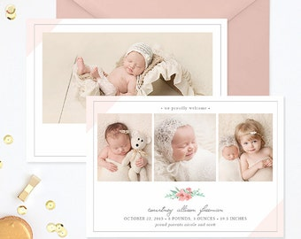 SALE Birth Announcement Template, Birth Announcement Girl, Photography Templates, Birth Announcement Card for Photoshop - BA173