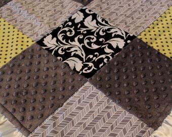 Gender Neutral Grey Herringbone Blanket