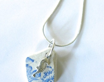 Seahorse necklace - Sea pottery pendant necklace with silver seahorse charm, blue and white beach pottery jewelry