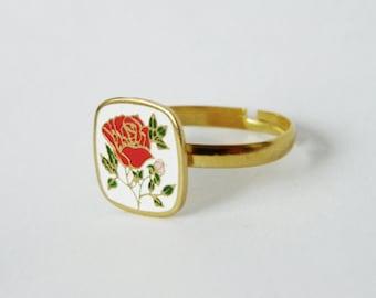 Enamel Rose Ring - Adjustable Ring
