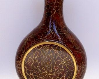 Brown and Gold Vintage Cloisonne Vase Turquoise Blue Enamel Finish Inside