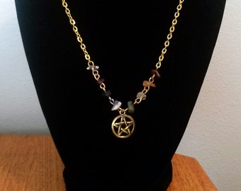 Gold Pentacle Chakra Necklace